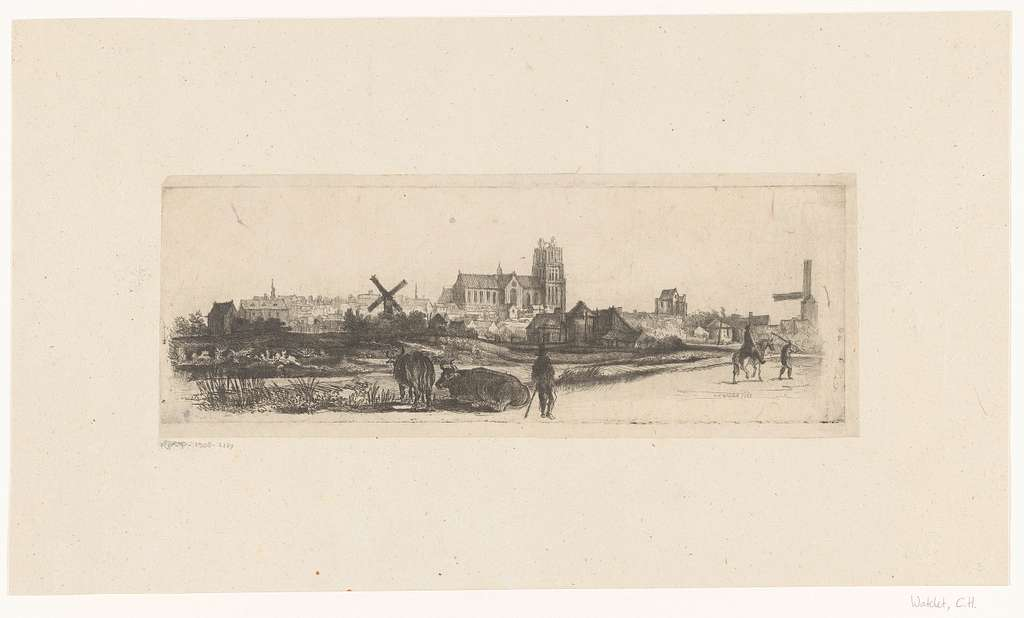 Landschap met een gezicht op Dordrecht