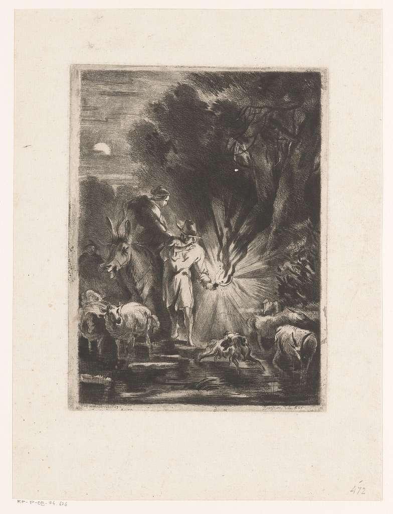 Nachtelijk landschap met herder en herderin bij een beek
