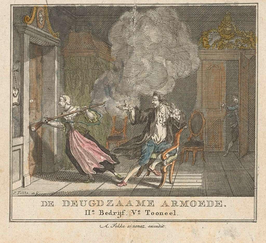Vrouw ramt deur met de kolf van een geweer