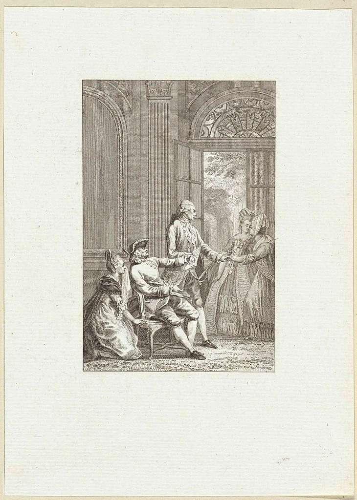 Man draagt een vrouw op om een brief voor te lezen in een klein gezelschap