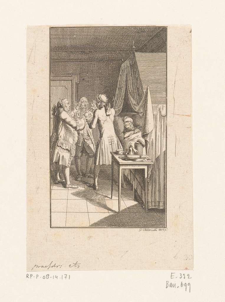 Drie artsen discussiëren naast het bed van een zieke man