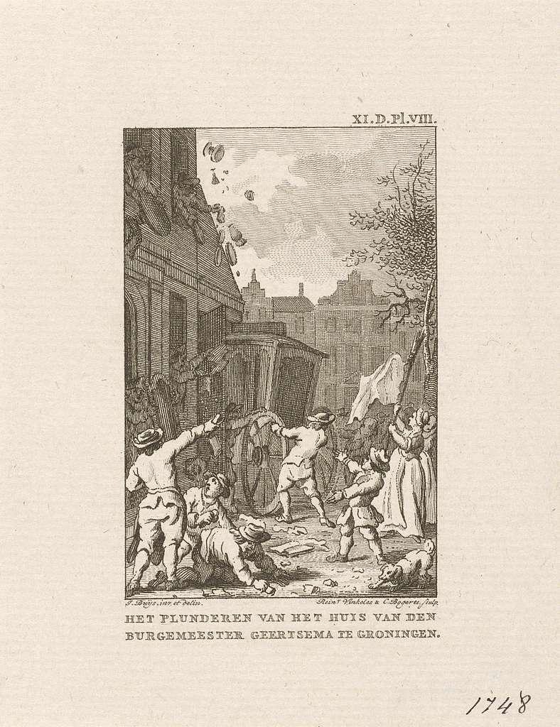 Plundering van het huis van burgemeester Geertsema te Groningen, 1748