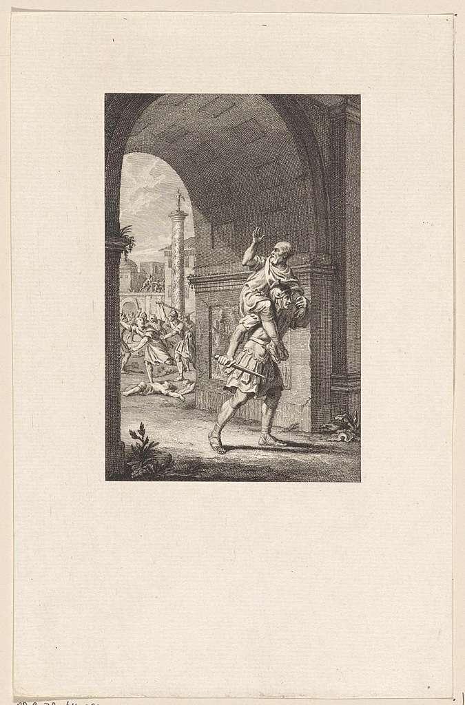 Oppius wordt door zijn zoon uit Rome gedragen