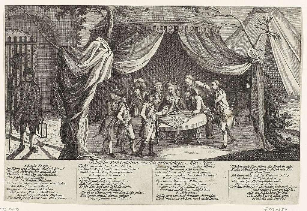 Spotprent op het Verdrag van Fontainebleau, 1785