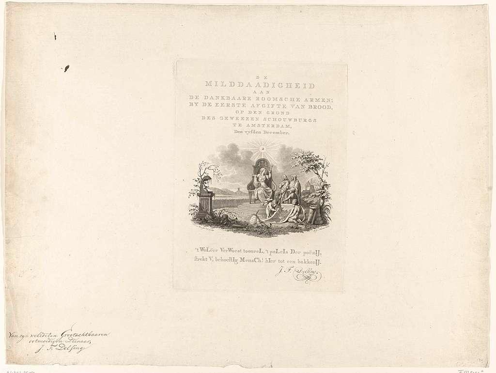Allegorie op de hulp verstrekt aan katholieke armen te Amsterdam, 5 december 1787