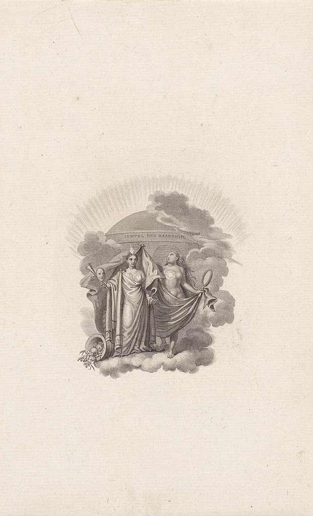 Allegorische voorstelling met twee personificaties van de waarheid