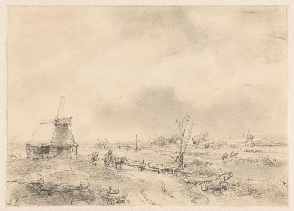 Landschap met twee molens en een paardenkar