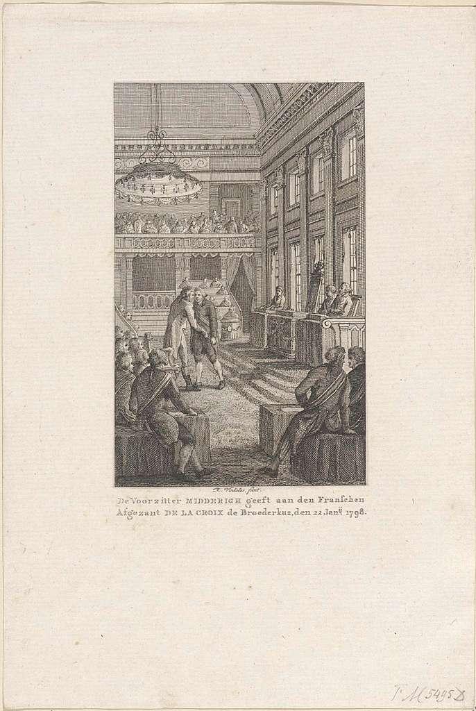 Voorzitter Midderigh van de Nationale Vergadering geeft de Franse afgezant De La Croix de broederkus, 1798