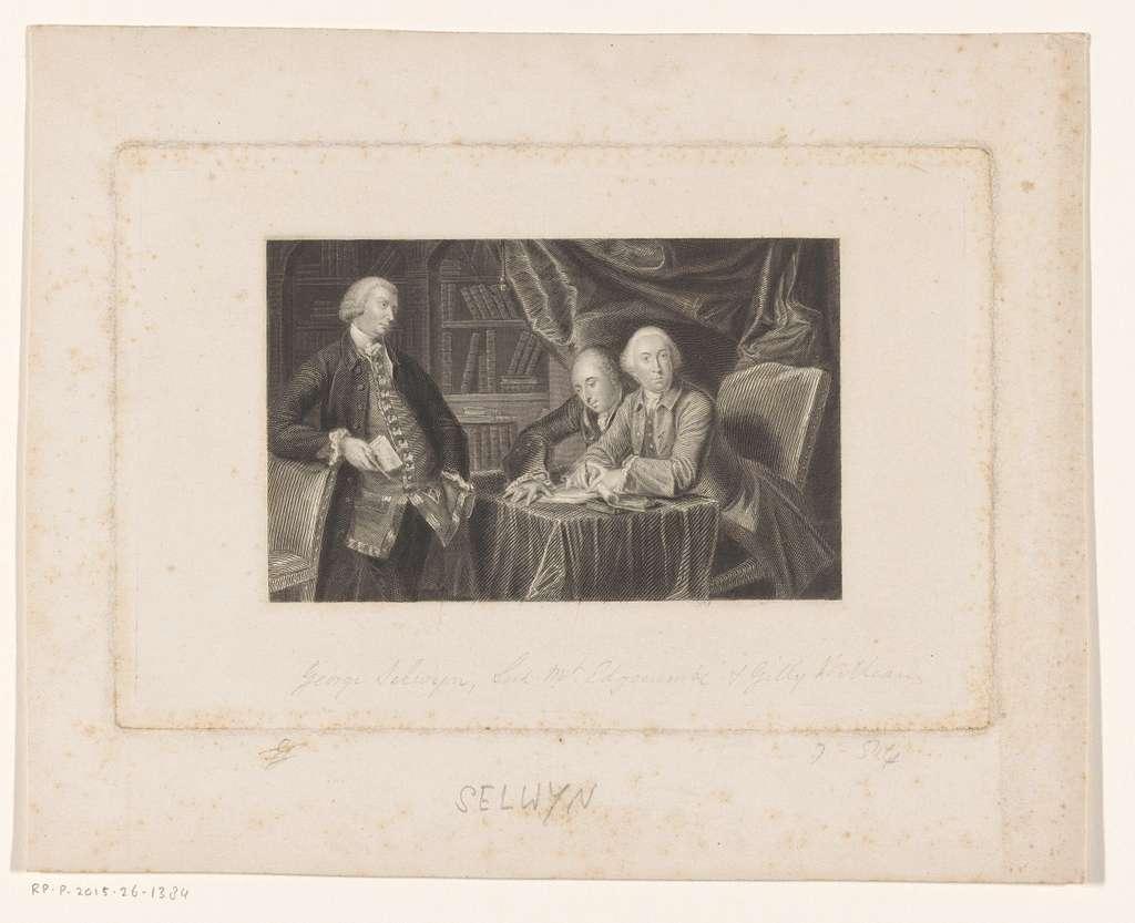 Groepsportret van Richard Edgcumbe, George Augustus Selwyn en George Williams