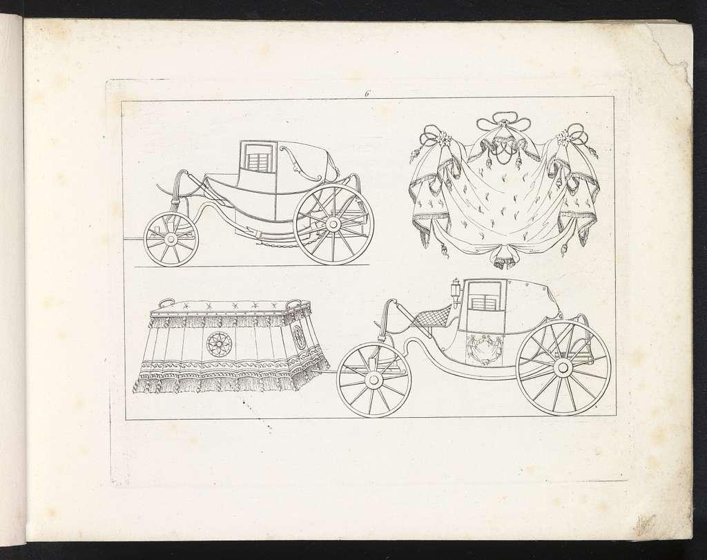 Twee rijtuigen, een gedrapeerde doek en een gestoffeerde kist