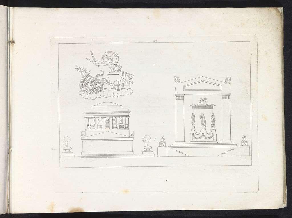 Twee tempels en Ceres op een rijtuig dat wordt voortgetrokken door twee draken