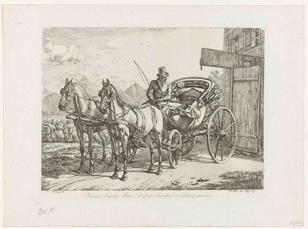 Koetsier in zijn rijtuig getrokken door twee paarden
