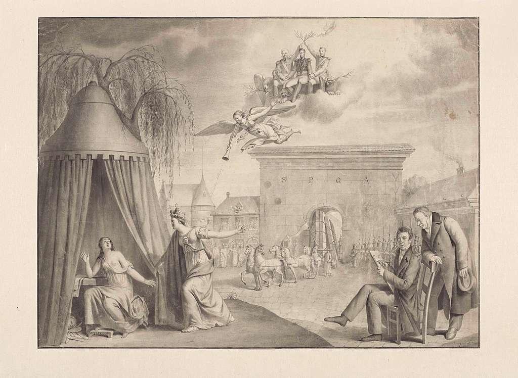 Allegorie op de terugkeer van de ontvoerde voorwerpen van kunst en wetenschap te Antwerpen, 1815
