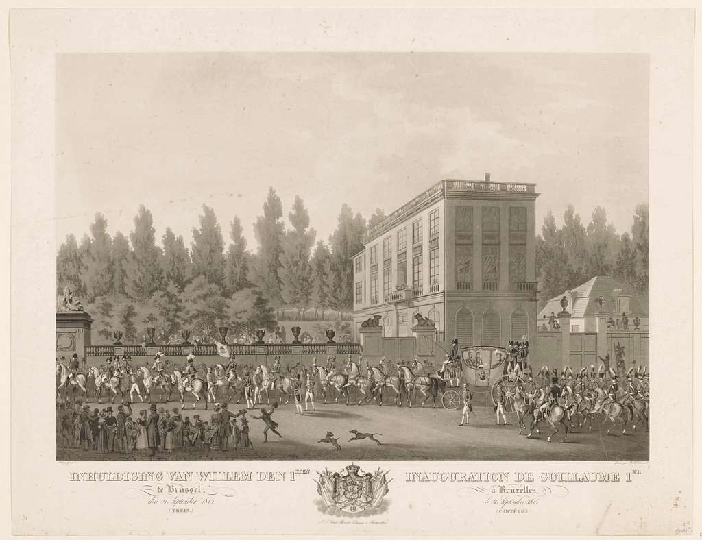Inhuldiging van Willem den 1sten te Brussel, den 21 September 1815 (Trein.) / Inauguration de Guillaume 1er à Bruxelles, le 21 Septembre 1815. (Cortège.)