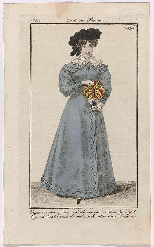 Journal des Dames et des Modes, Costume Parisien, 25 janvier 1825, (2294): Toque de velours plain (...)