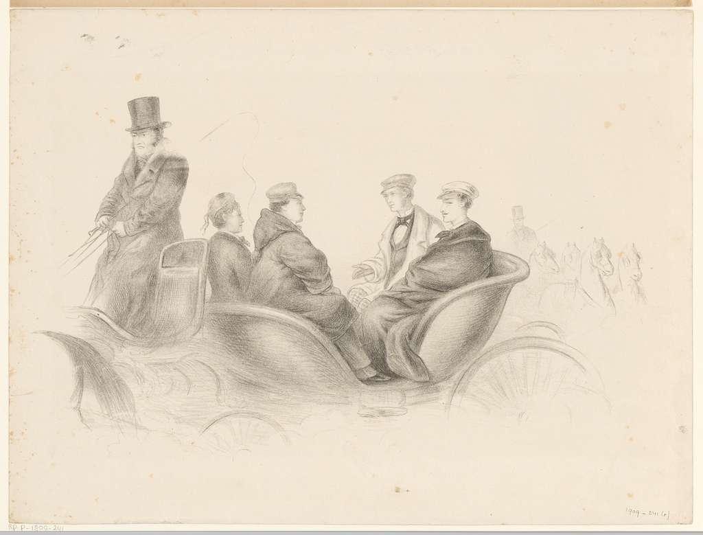 Vier studenten in een rijtuig