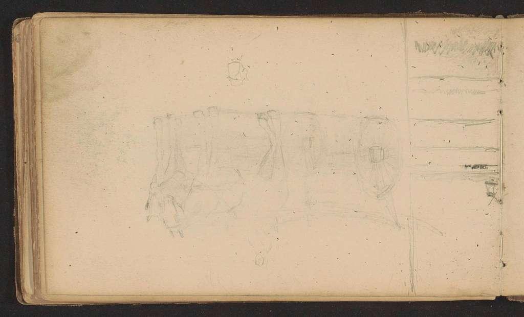Paardenkoets en een landschap met molen