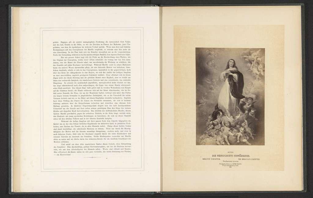 Fotoreproductie van een prent naar de Onbevlekte Ontvangenis van Maria door Bartolomé Esteban Murillo