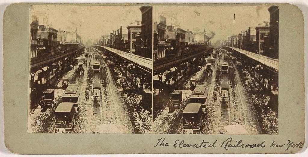 Gezicht op de 'Elevated', de verhoogde spoorlijn in New York