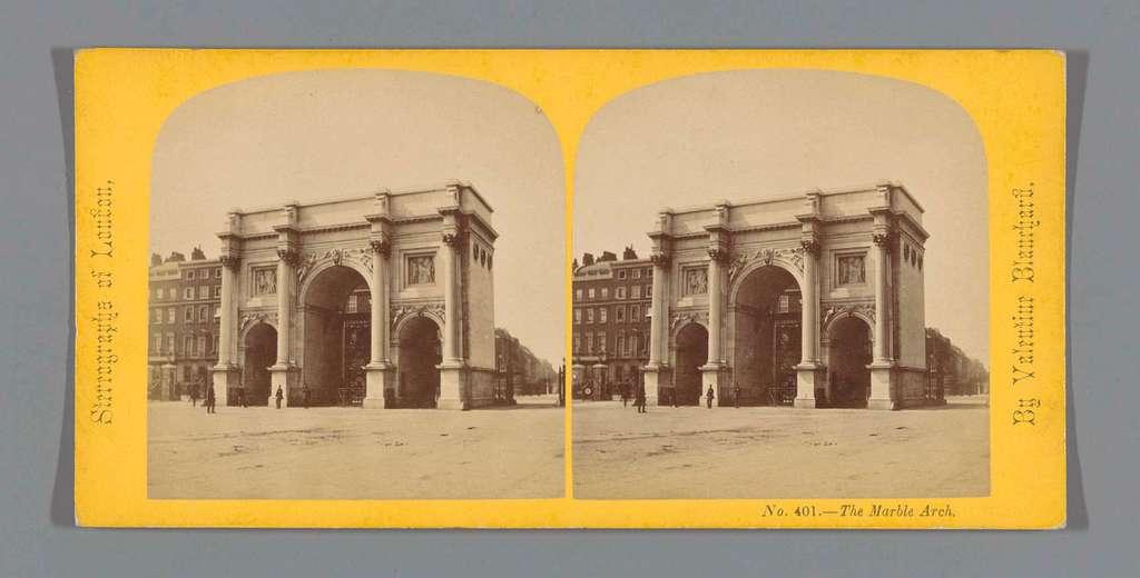 Gezicht op de Marble Arch te Londen