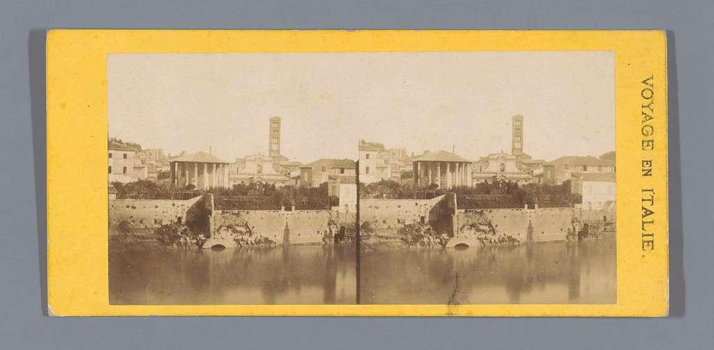 Gezicht op het Forum Boarium, gezien vanaf de overkant van de Tiber