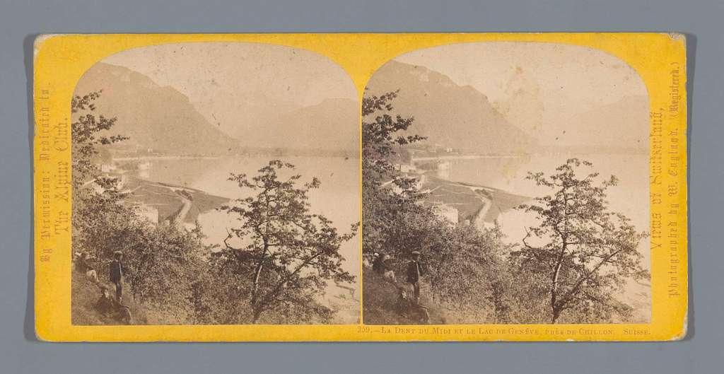 Gezicht op het Meer van Genève, met op de achtergrond de Dents du Midi