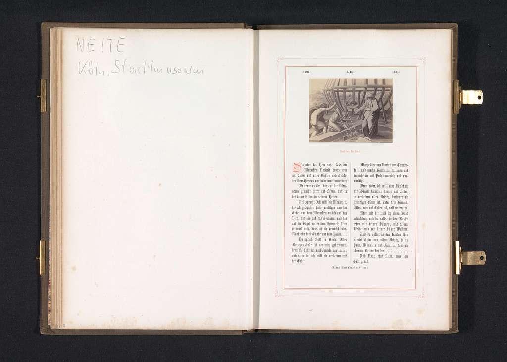 Fotoreproductie van een prent naar een fresco van de bouw van de Ark van Noach door Rafaël voor de loggia's in het Vaticaan
