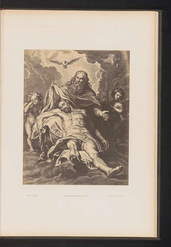 Fotoreproductie van een gravure van De heilige drie-eenheid door Schelte Adamsz. Bolswert, naar het schilderij door Peter Paul Rubens
