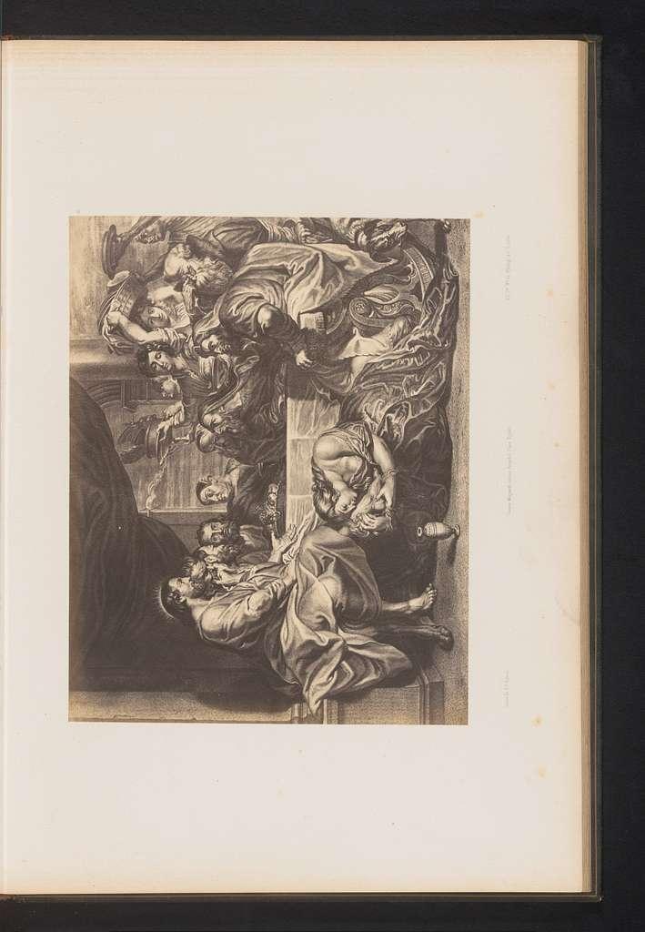 Fotoreproductie van een gravure van Feest in het huis van Simon de Farizeeër door Michel Natalis, naar het schilderij door Peter Paul Rubens