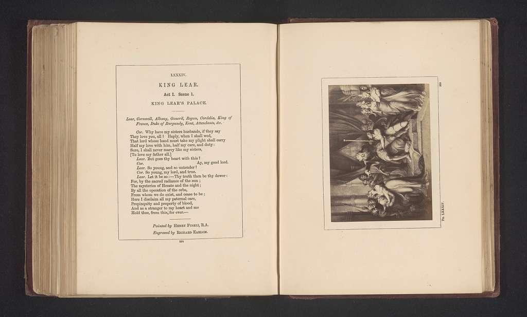 Fotoreproductie van een prent naar een schilderij door Johann Heinrich Füssli, voorstellend een scene uit Koning Lear door William Shakespeare
