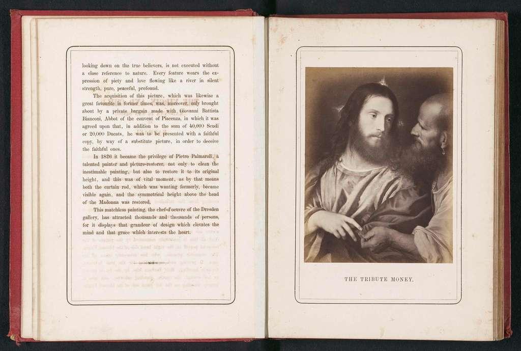 Fotoreproductie van het schilderij Cristo della moneta door Titiaan