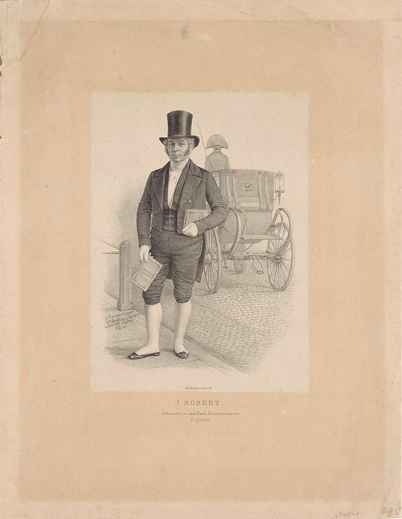Portret van J. Robert met rijtuig