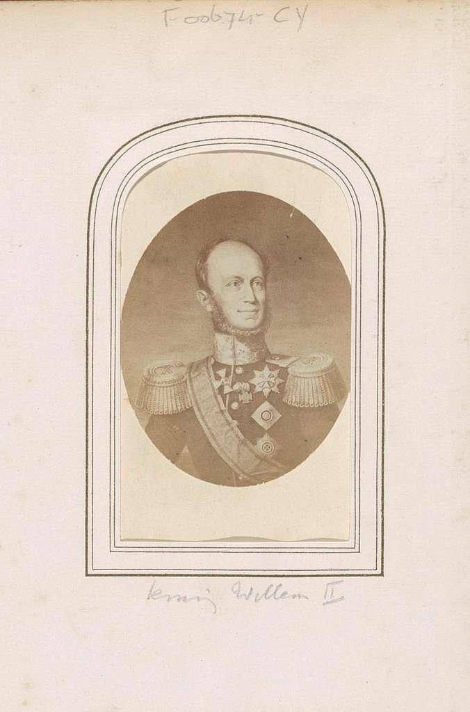 Fotoreproductie van een gegraveerd portret van koning Willem II