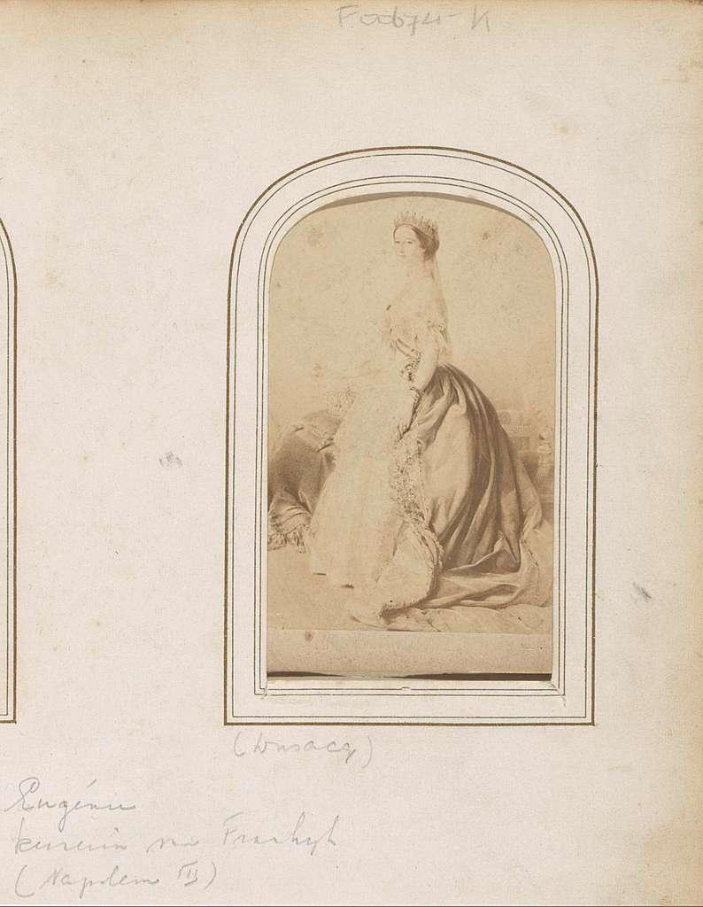 Fotoreproductie van een geschilderd portret van keizerin Eugénie van Frankrijk, echtgenote van Napoleon III