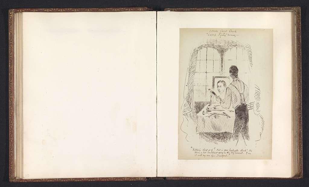 Fotoreproductie van een tekening, voorstellende eerwaarde Burgon voor een spiegel