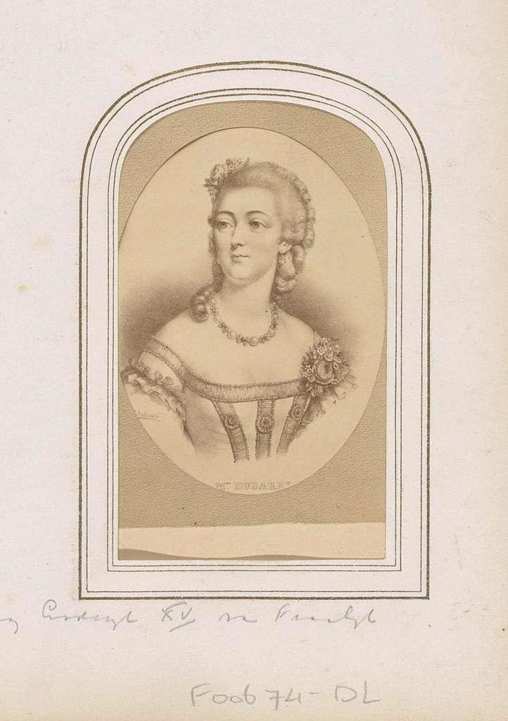 Fotoreproductie van (vermoedelijk) een geschilderd portret van Madame du Barry, maîtresse van koning Lodewijk XV van Frankrijk