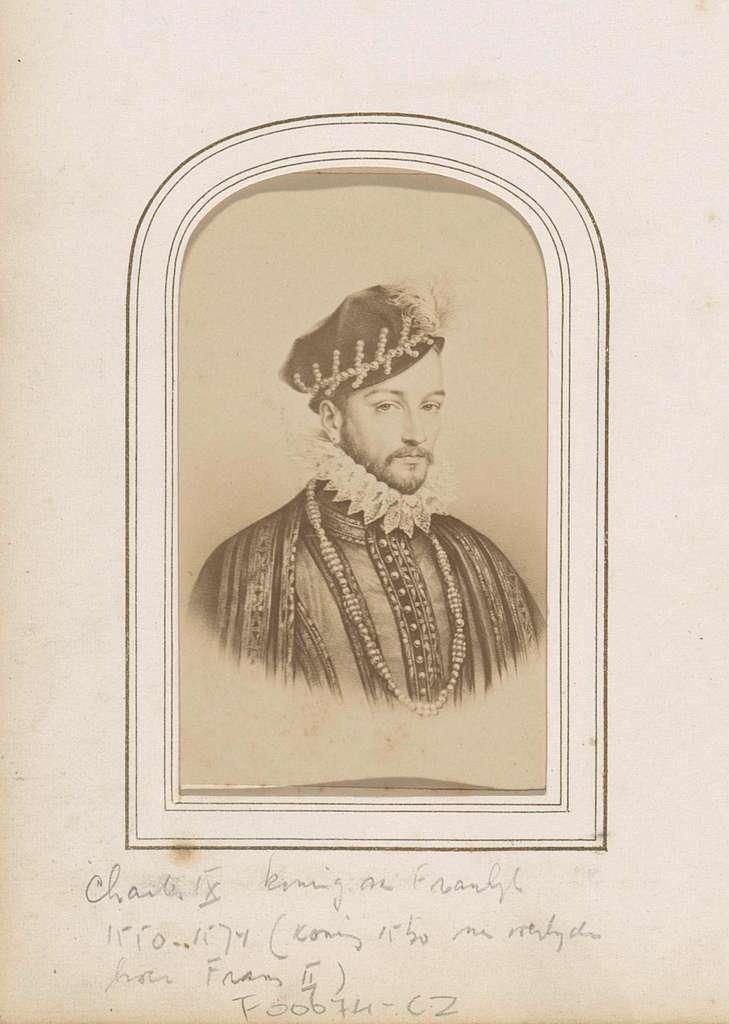 Fotoreproductie van (vermoedelijk) een prent van Karel IX, koning van Frankrijk