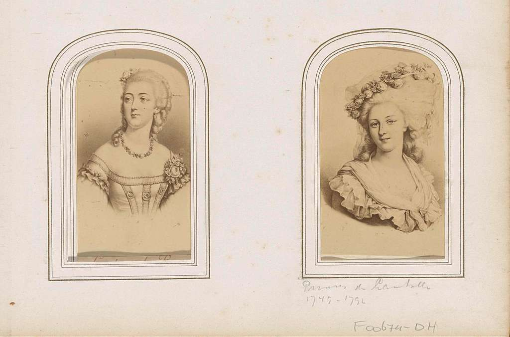 Fotoreproductie van (vermoedelijk) een prent van Marie-Thérèse Louise de Savoye-Carignano, prinses de Lamballe