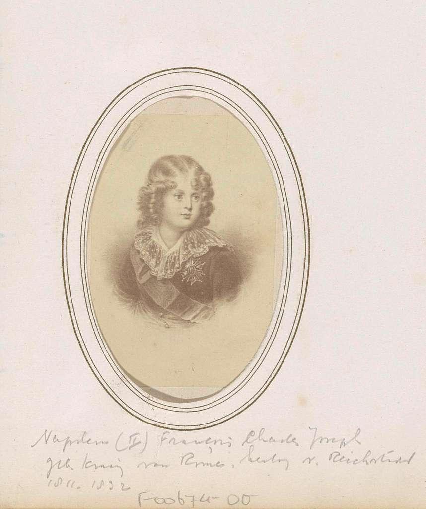 Fotoreproductie van (vermoedelijk) een prent van Napoleon II Bonaparte, koning van Rome, als kind