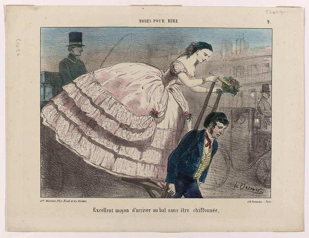 Modes pour rire, ca. 1855-1860, Nr. 9 : Excellent moyen d'arriver (...)