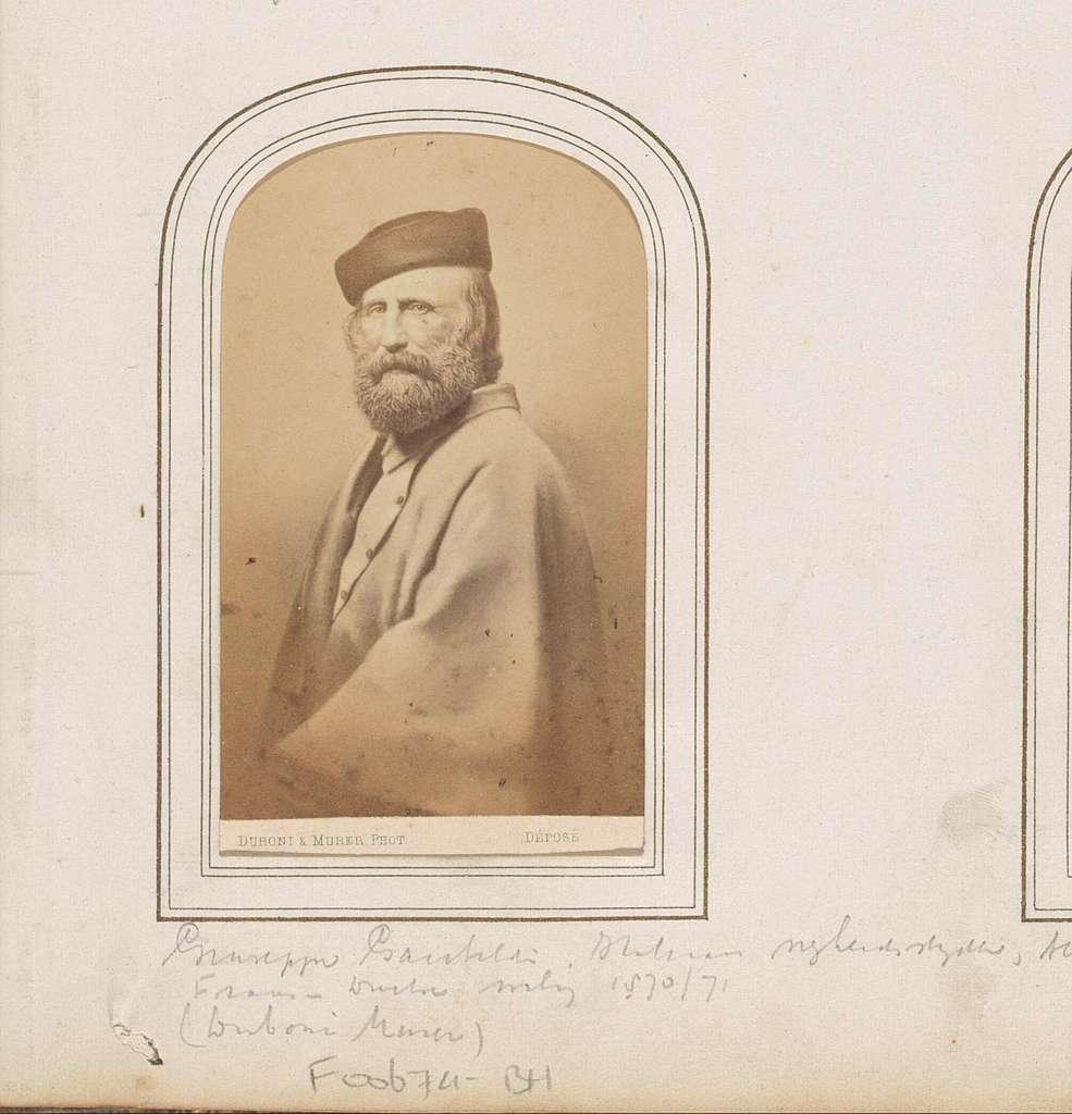 Portret van Giuseppe Garibaldi, Italiaans vrijheidsstrijder en politicus