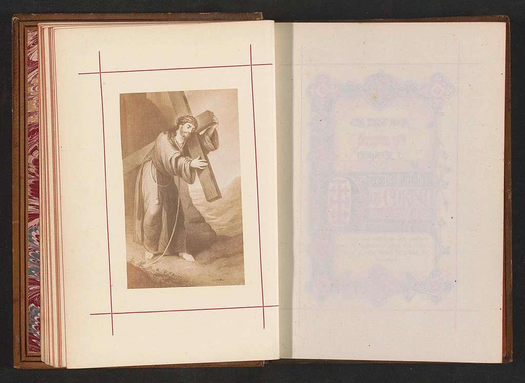 Fotoreproductie van een prent, voorstellende Christus draagt het kruis