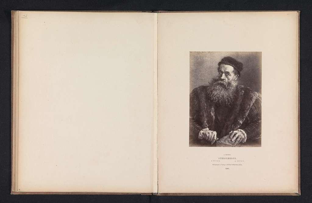Fotoreproductie van een portret van een onbekende man met een baard door Adolf Menzel