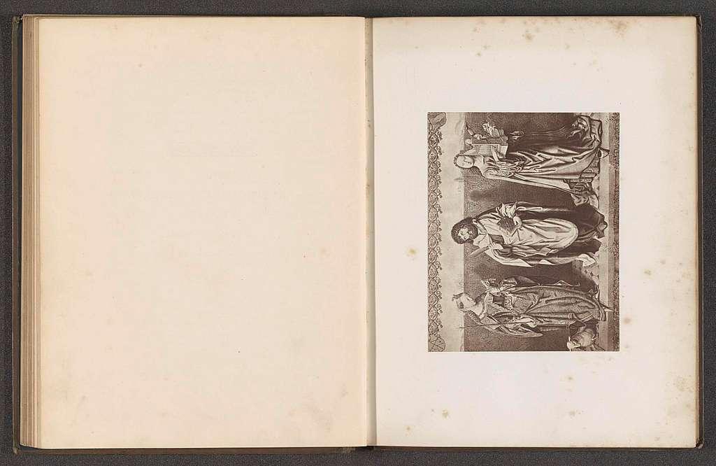 Fotoreproductie van een prent van een schilderij, voorstellende de heilige Bartholomeus, Agnes en Cecilia