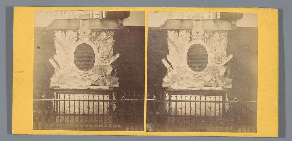 Gezicht op het grafmonument van Jan van Galen in de Nieuwe Kerk in Amsterdam