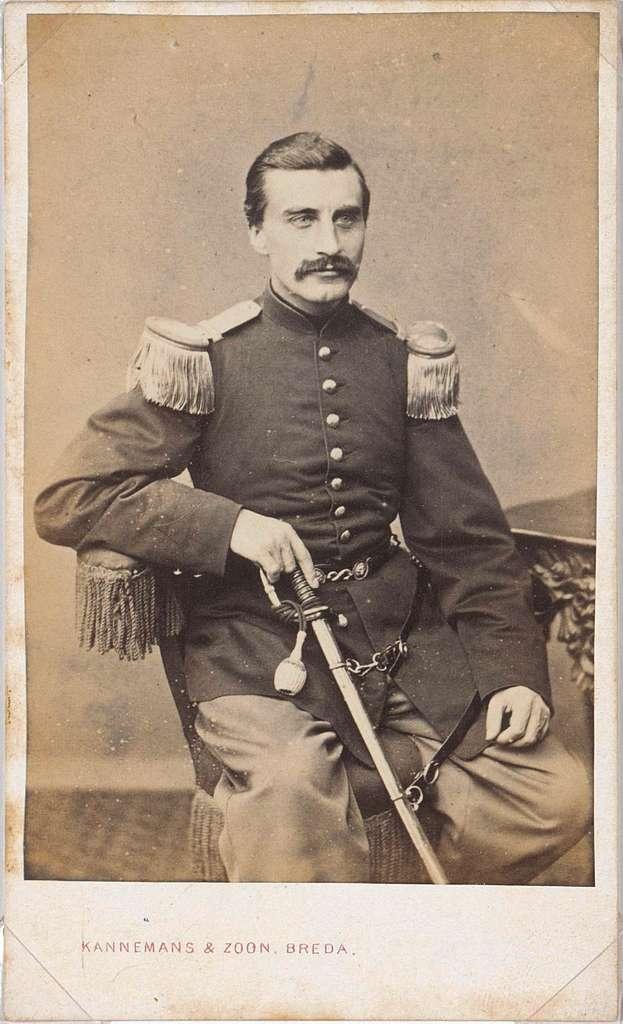 Portret van Abraham Pompe in militair uniform
