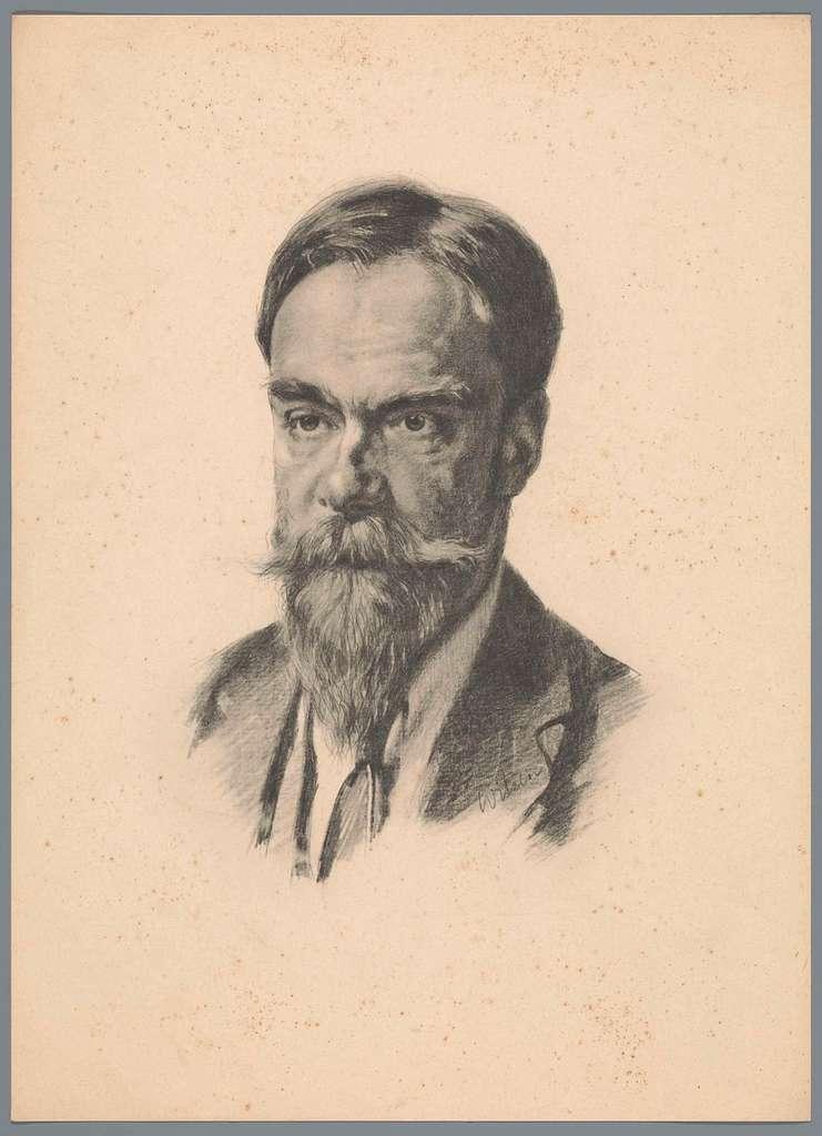 Reproductie naar krijttekening met portret van Frans Coenen Jr.