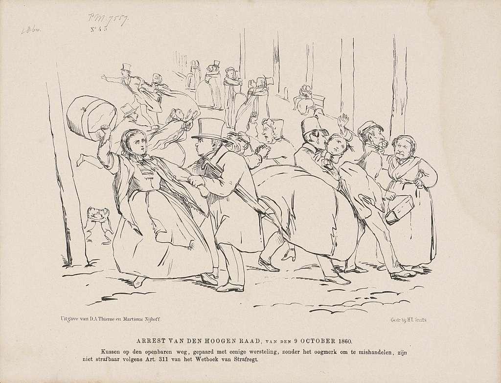 Spotprent op het arrest van de Hoge Raad betreffende een omhelzing op de openbare weg, 1860