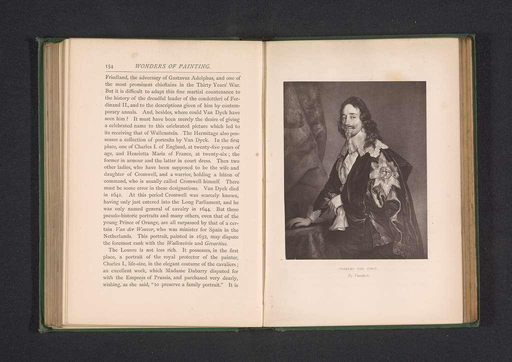 Fotoreproductie van een portret van Karel I door Anthony van Dyck