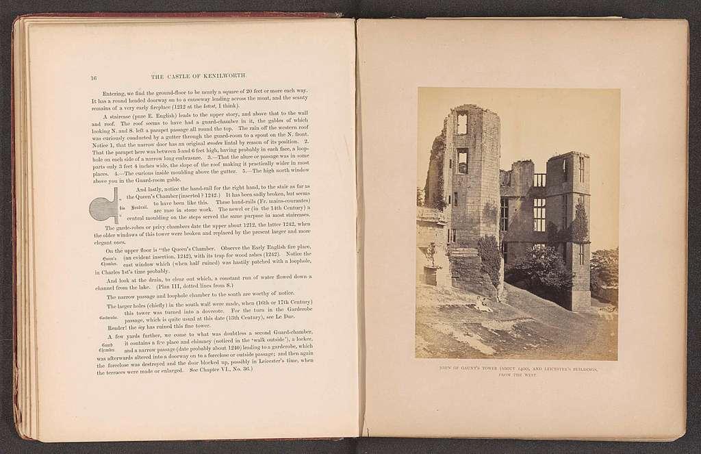 Gezicht op ruïnes van torens van het Kasteel van Kenilworth